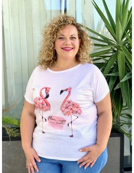 Camiseta Flamingos Casual...