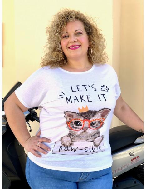 Camiseta Gatito Casual Curvy