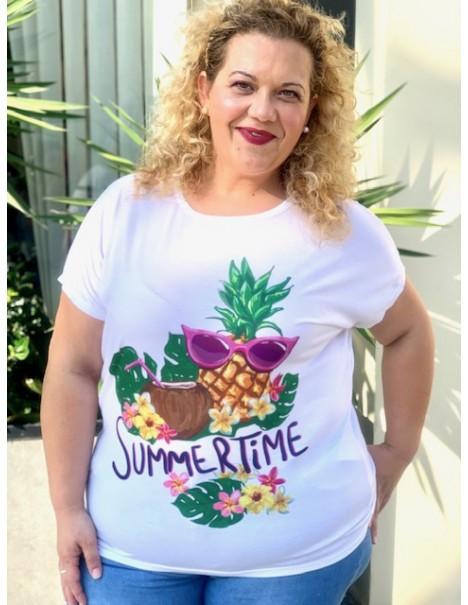 Camiseta Piña Casual Curvy