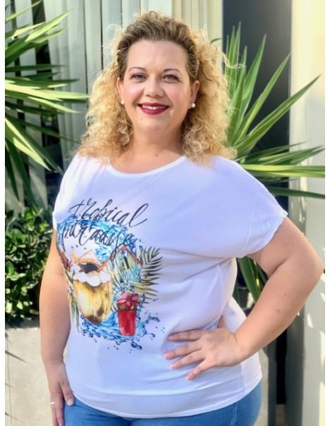 Camiseta Tropical Casual Curvy