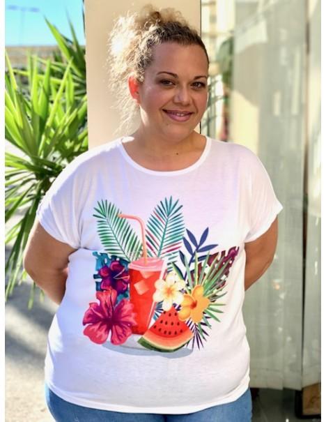 Camiseta Palmeras Casual Curvy